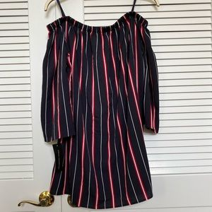 French Connection Off Shoulder Striped Mini Dress